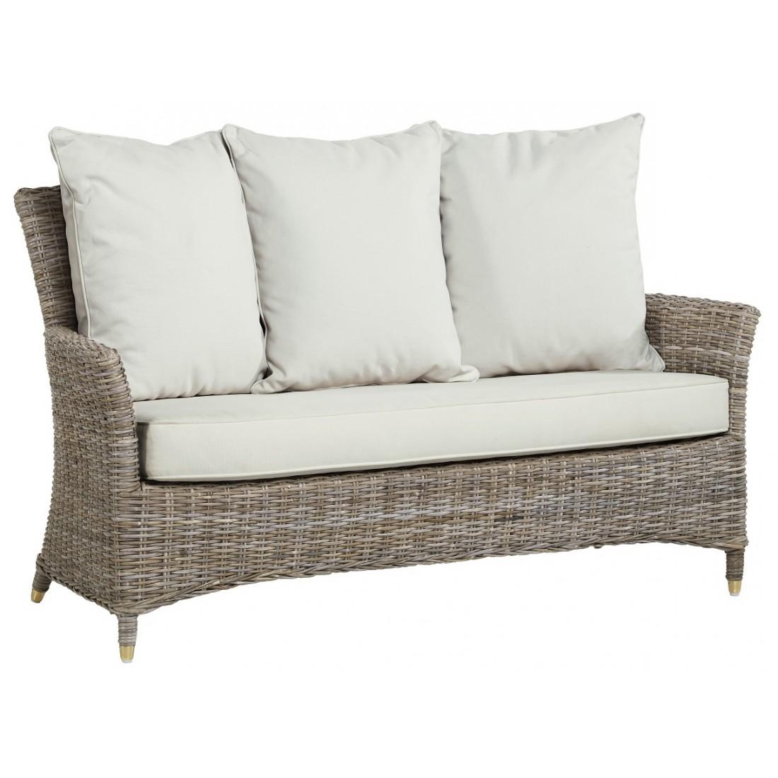 Nevis sofa in grey kooboo rattan with cushion for Sofa rattan jardin