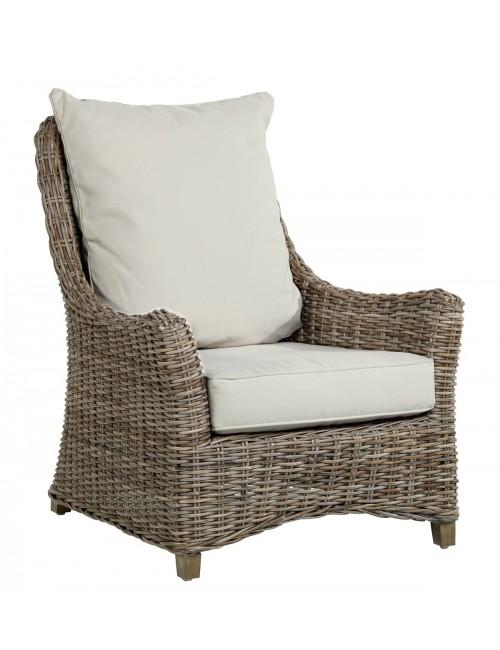 Fauteuil rotin kooboo gris transat - Peindre fauteuil en rotin ...