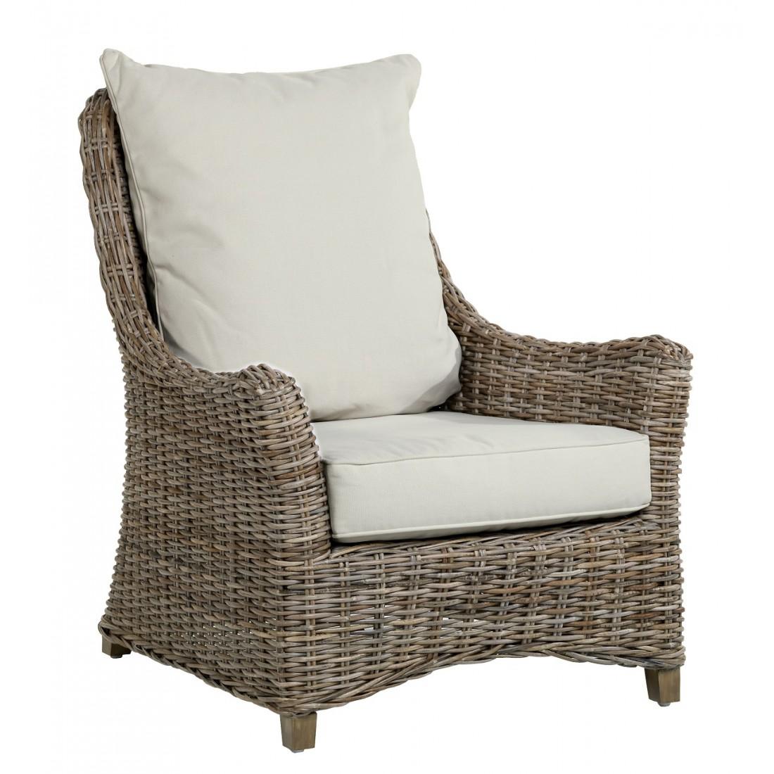Kooboo Wicker Chair: Transat Armchair In Grey Kooboo Rattan