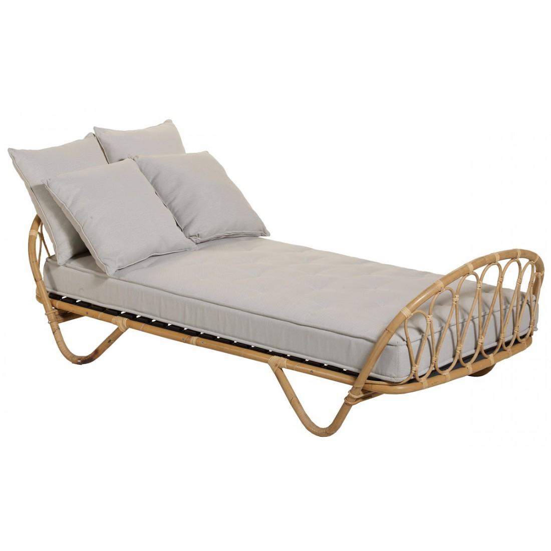 lit en rotin naturel 90x190 corbeille. Black Bedroom Furniture Sets. Home Design Ideas