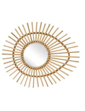 "Miroir en rotin naturel ovale ""oeil"""