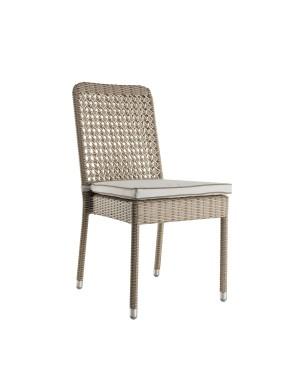 Chaise en résine Antibes avec coussin perle