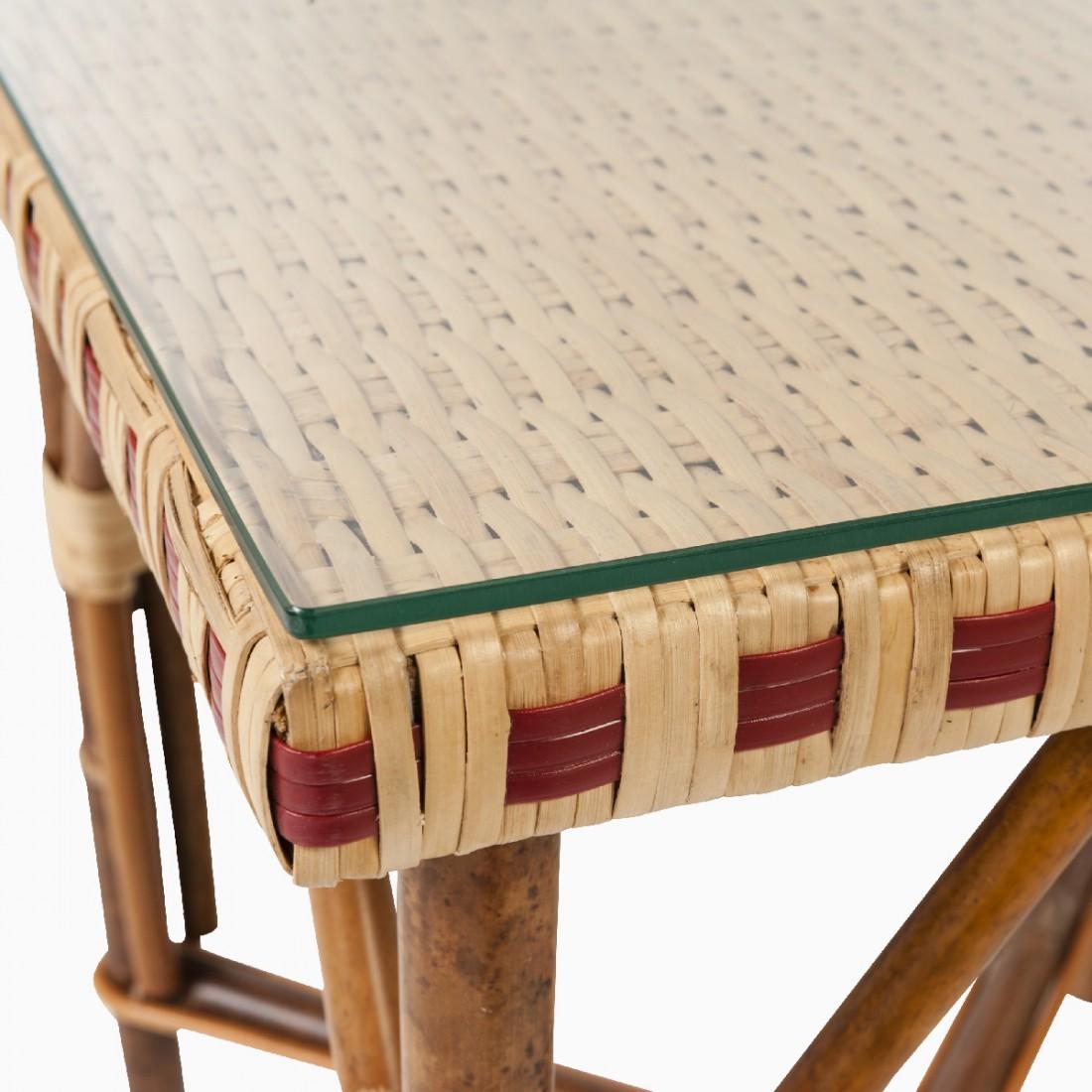 verre pour table basse en rotin bagatelle table en rotin. Black Bedroom Furniture Sets. Home Design Ideas