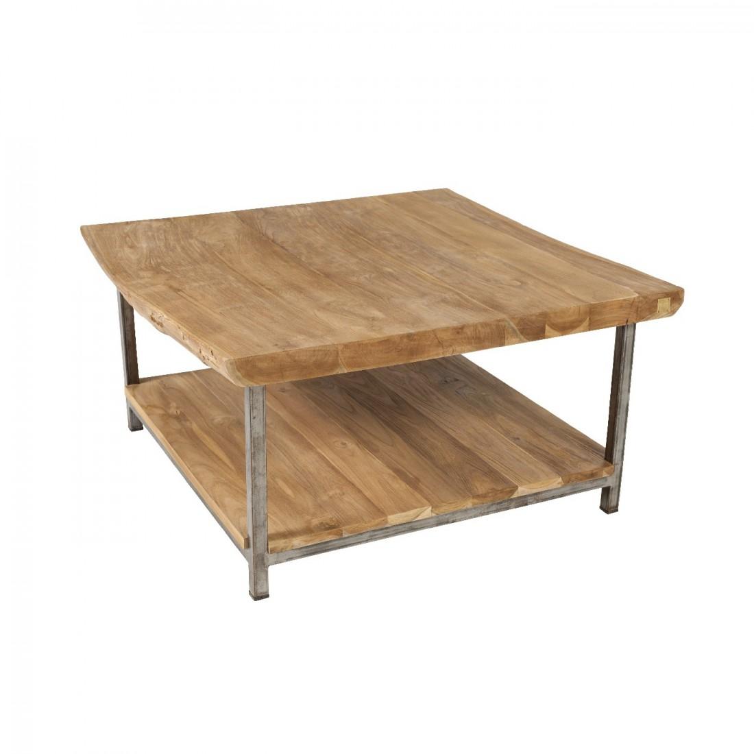 80x80 Basse Teck Table Brossé Vague 4A5RjL