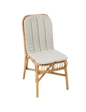 Coussin coloris gris pour chaise en rotin Valérie de chez KOK MAISON