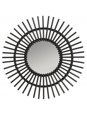 Miroir en rotin laqué noir Soleil par KOK MAISON