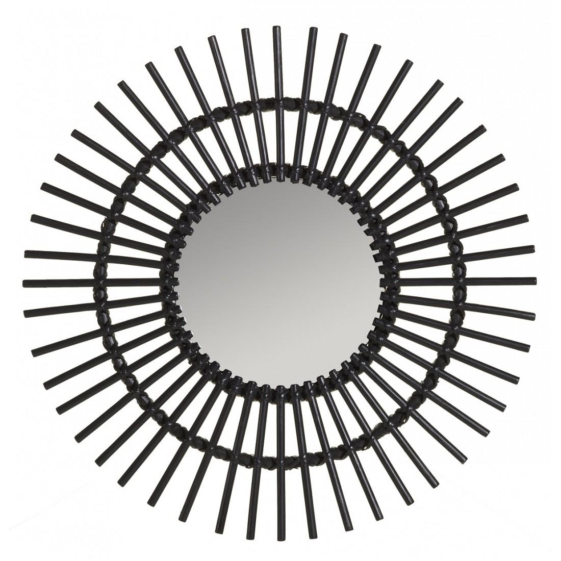 Miroir rotin laqu noir vintage soleil miroir rotin kok maison - Miroir en rotin ...