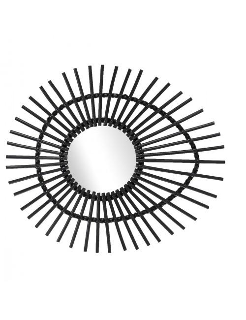 Miroir rotin laqu noir vintage ellipse miroir rotin kok for Meuble tv ellipse 00381