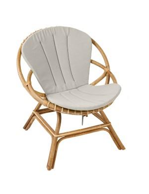 Coussin coloris gris pour fauteuil en rotin Brigitte de chez KOK MAISON