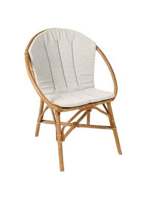 Coussin coloris gris pour fauteuil en rotin Bruno de chez KOK MAISON