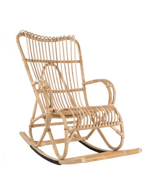 Fauteuil Rocking Chair En Rotin Naturel Vintage Marlène - Fauteuil rocking chair