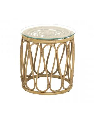 Table basse vintage tambour rotin avec verre de chez KOK MAISON