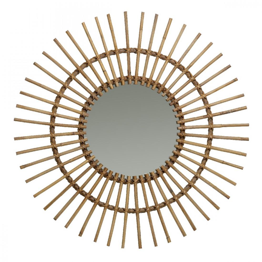Miroir rotin naturel vintage soleil for Miroir rotin osier