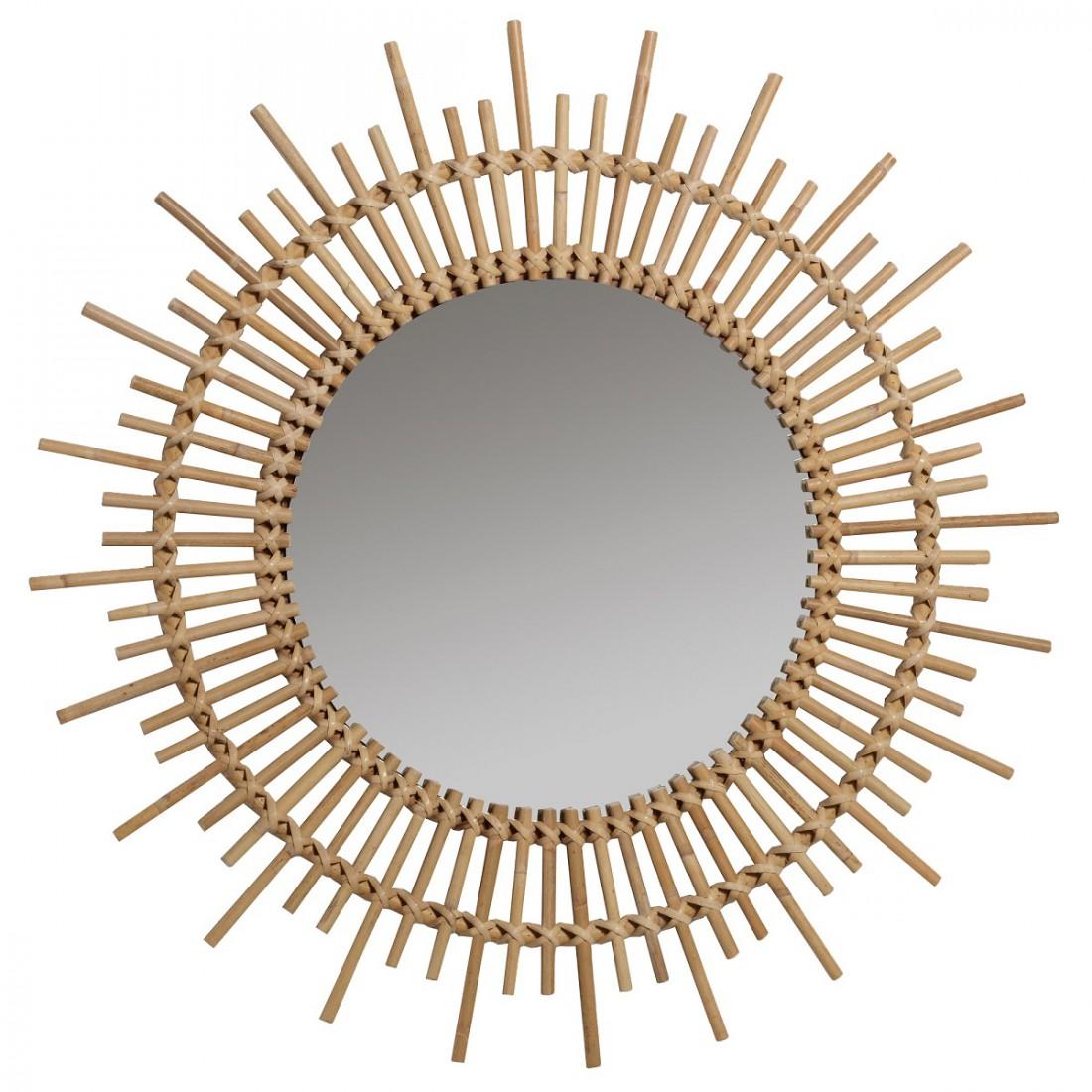 Miroir rotin naturel vintage plan te for Miroir rond rotin