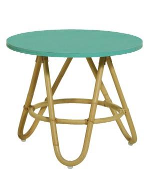 Diabolo rattan coffee table with Aqua colour top