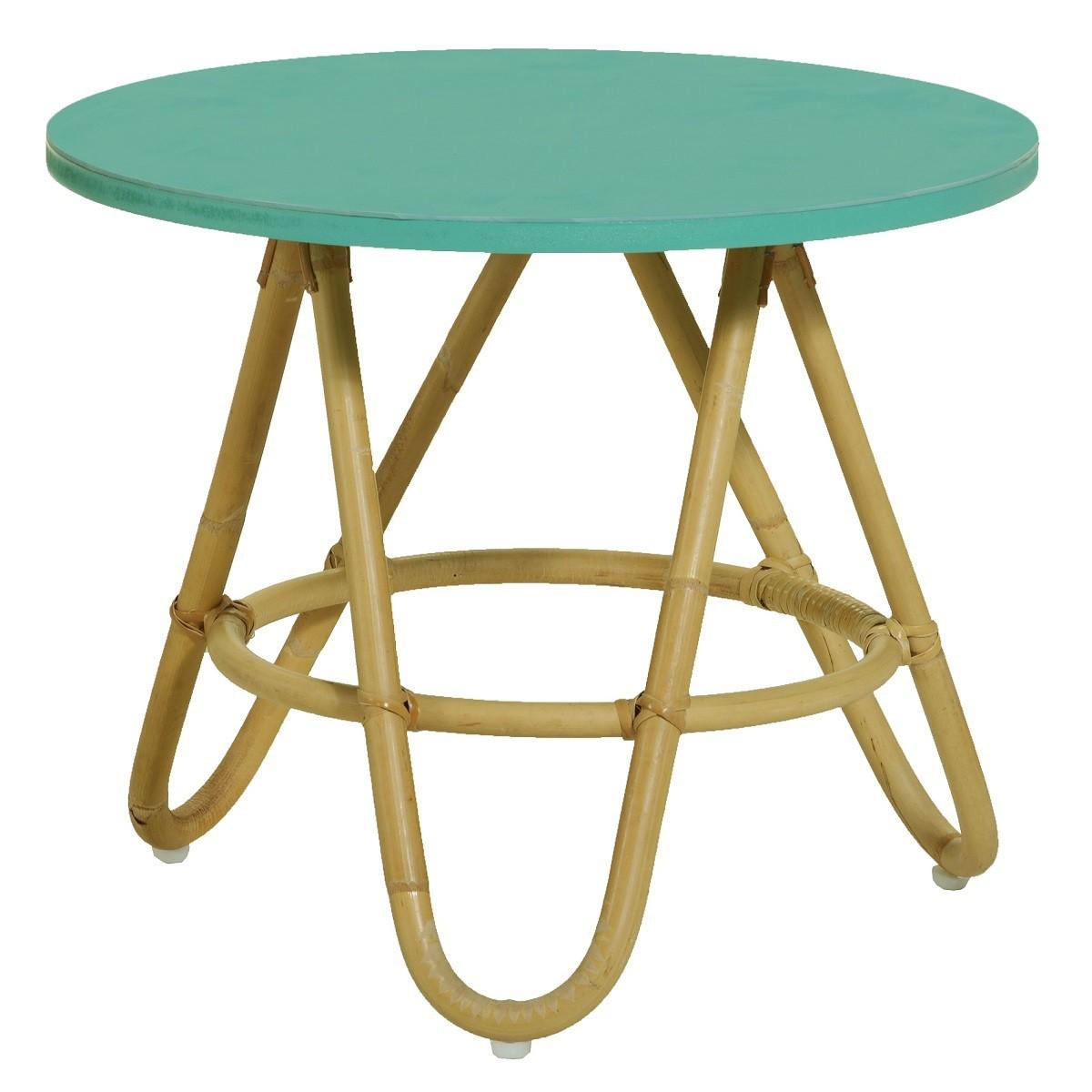 table basse en rotin naturel et plateau bleu diabolo