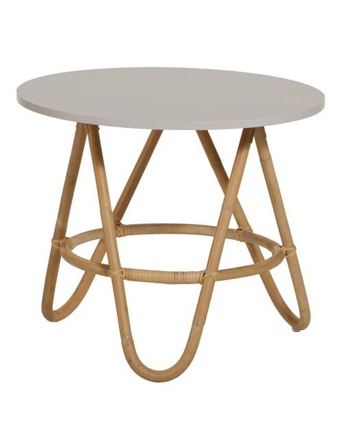 table basse en rotin naturel et plateau gris clair nuage diabolo. Black Bedroom Furniture Sets. Home Design Ideas