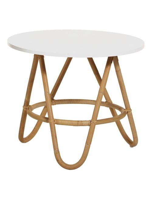 Table basse vintage Diabolo en rotin plateau blanc