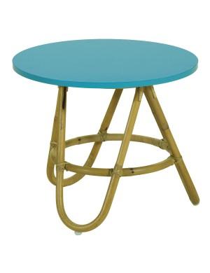 Diabolo rattan coffee table with Azur colour top