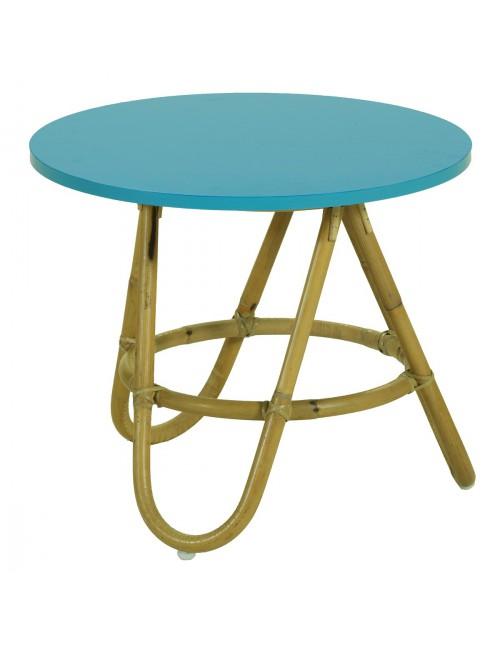 Table basse Diabolo en rotin avec plateau coloris azur