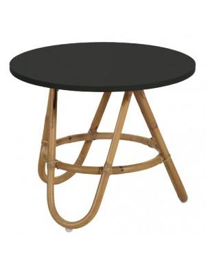Table basse vintage Diabolo en rotin plateau noir