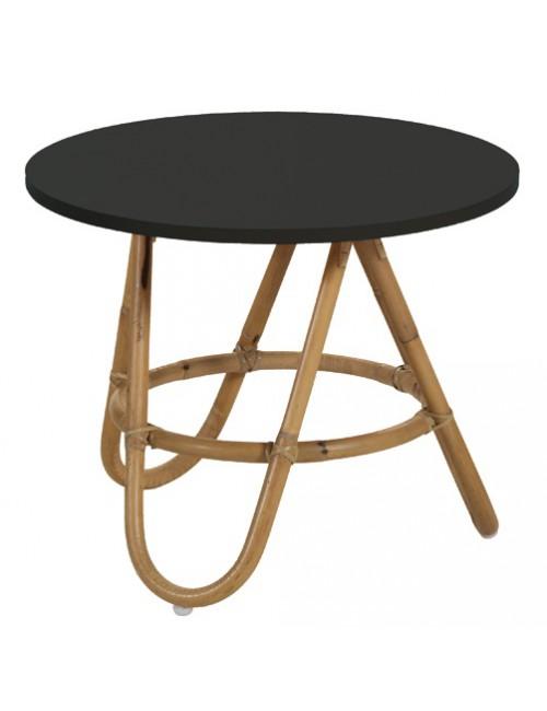 Table basse en rotin naturel et plateau noir diabolo for Miroir rotin noir