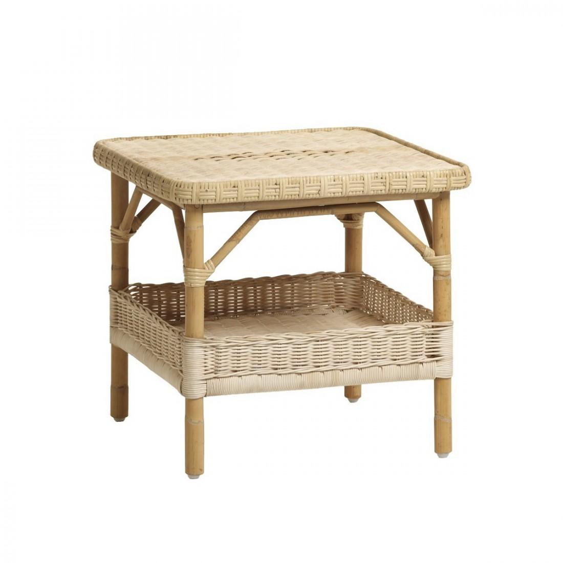 Table bois nantuket for Table en rotin blanc