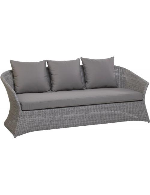 Canapé 3 pl jardin résine galet Zenith de chez KOK MAISON