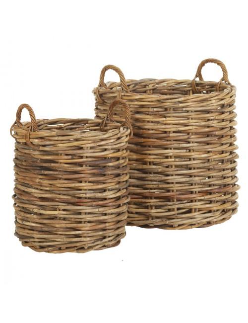 Jardinière ronde en rotin maxi-weave
