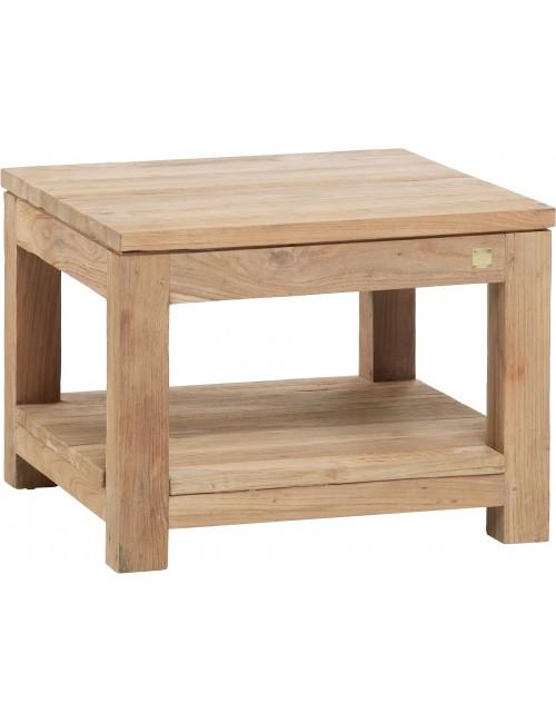 table basse en teck recyclé brossé taille carrée petit modèle