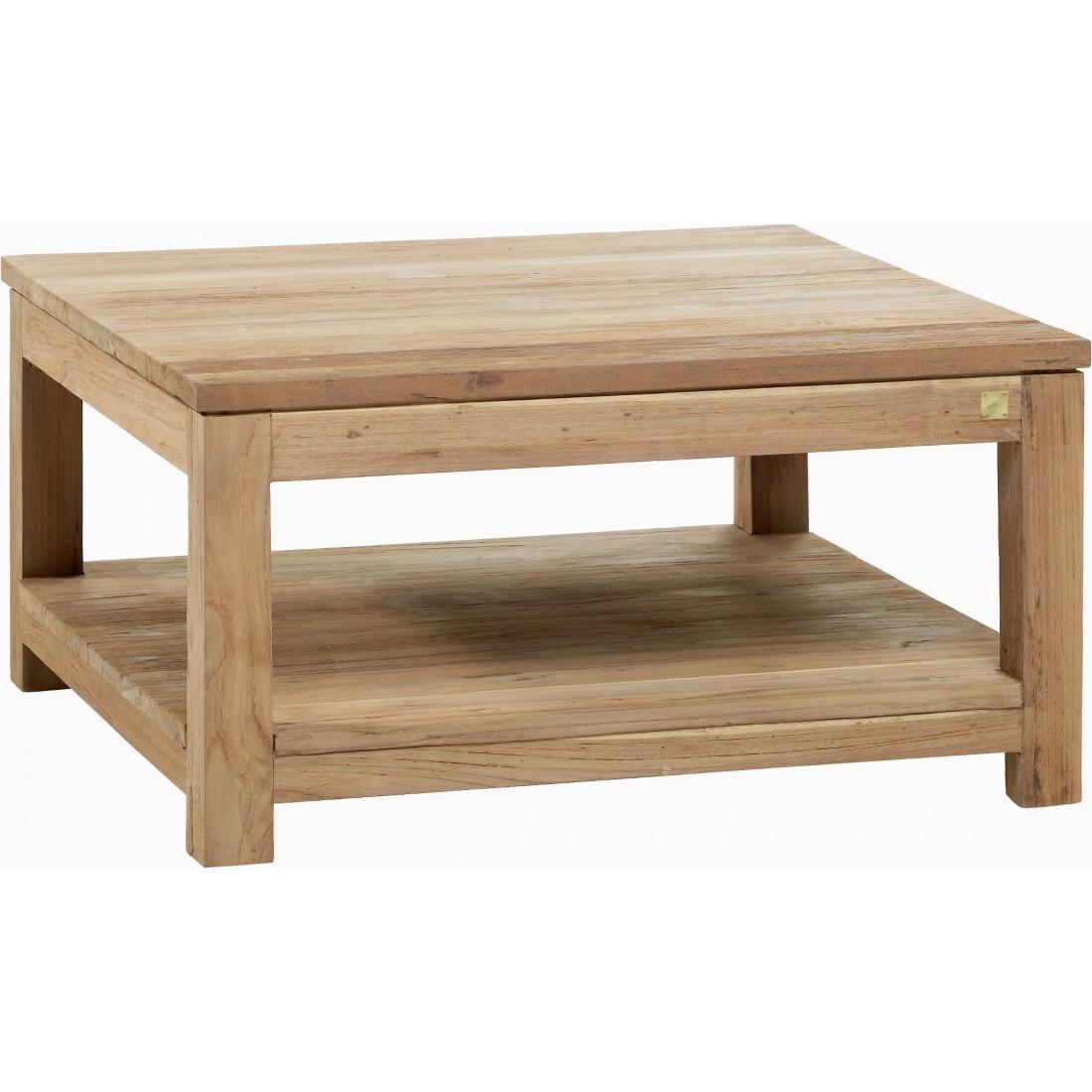 Teak coffee table drift 80x80 for Coussin exterieur 80x80