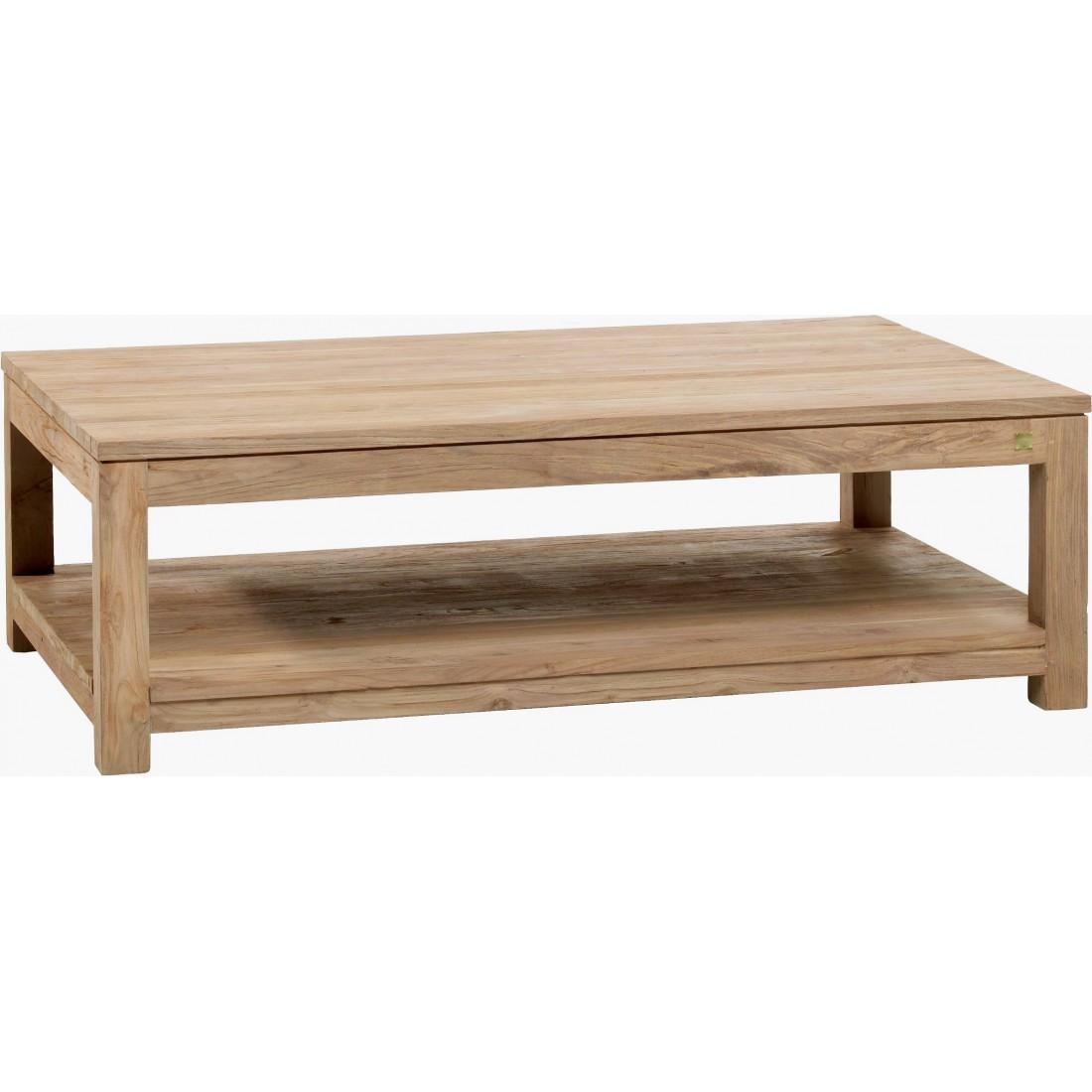 Teak coffee table drift 130x80 for Coussin exterieur 55x55