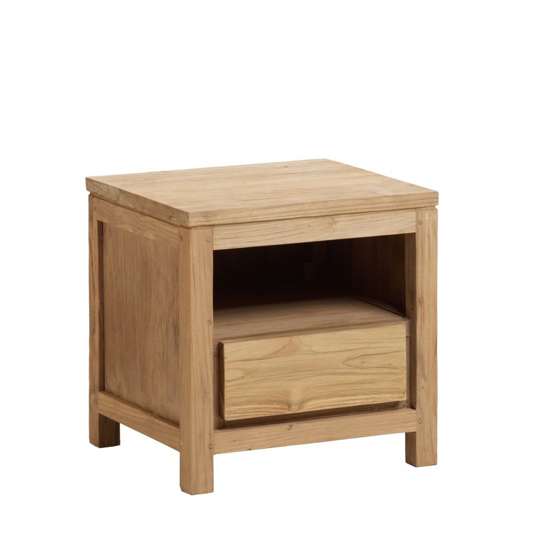 table de chevet en teck recycl bross. Black Bedroom Furniture Sets. Home Design Ideas