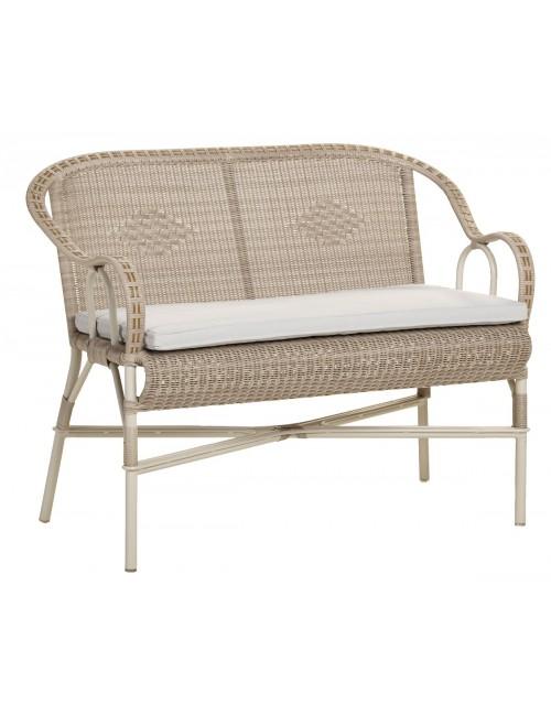 Canapé de jardin en résine dune Marcel coussin perle