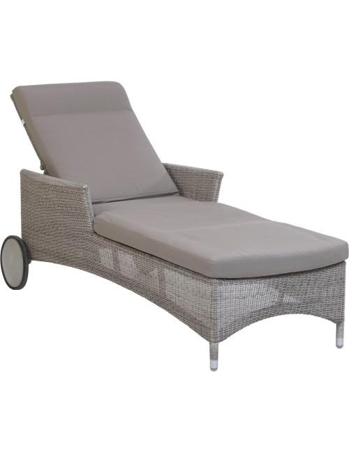 Chaise longue jardin résine galet Atoll