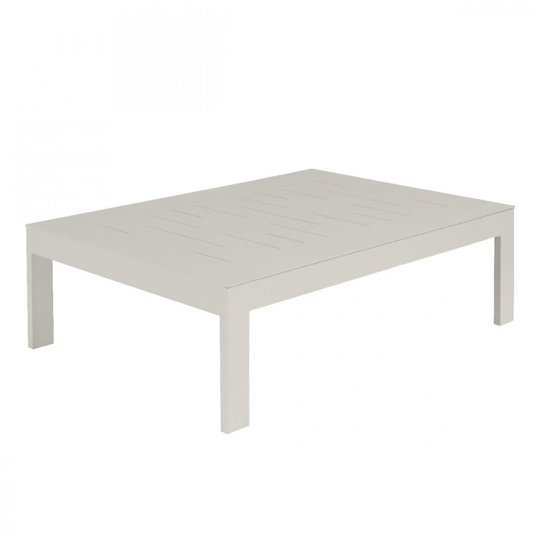 Table basse de jardin sienna 100x70 en alu coloris blanc fum e for Table 100x70