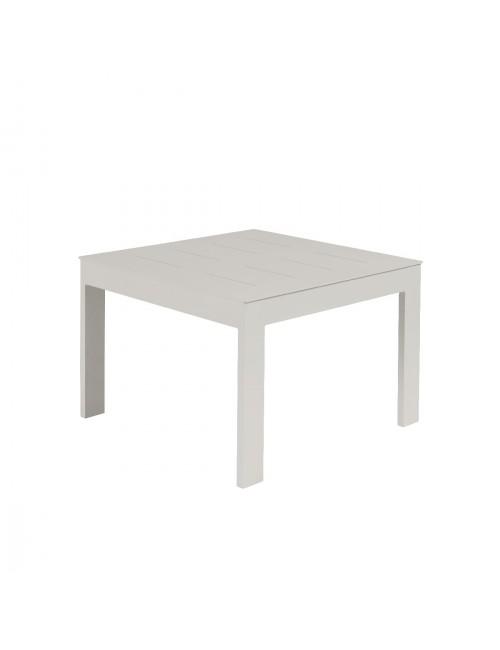 Table basse Sienna 60x60 alu blanc fumée