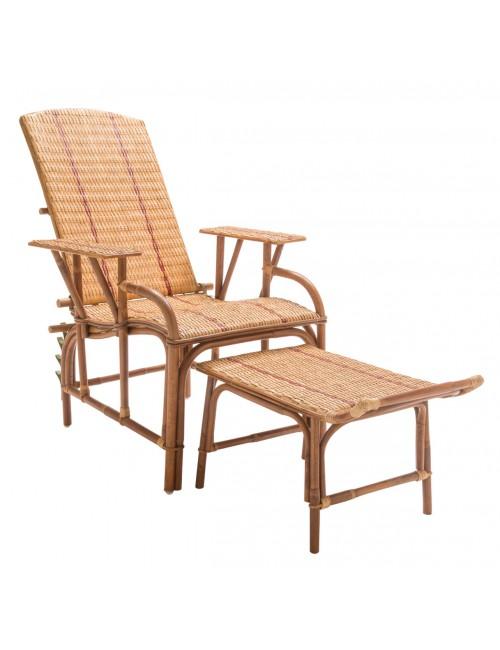 Chaise longue en rotin Bagatelle avec repose-pieds