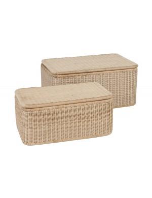 Rectangular laundry basket in natural rattan