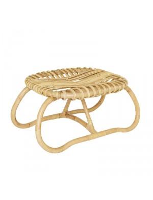 Boucle big rattan footstool