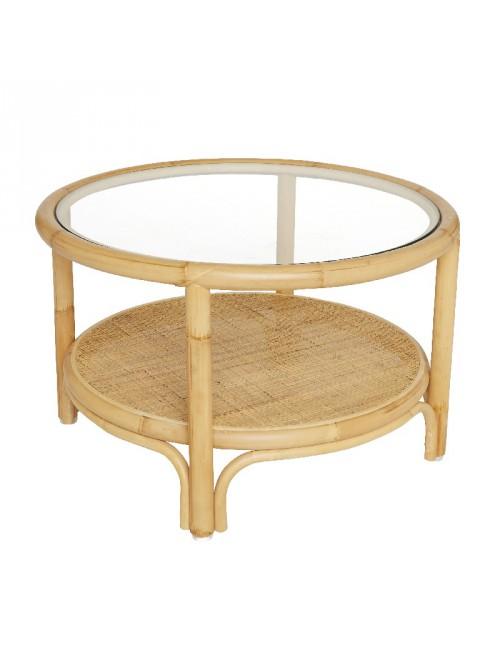Boucle rattan footstool