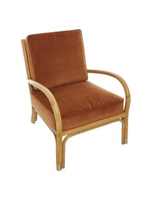Riviera rattan armchair with orange velvet
