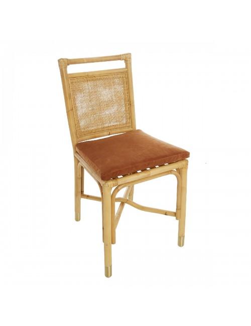 Riviera rattan dining chair orange velvet