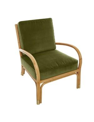 Riviera rattan armchair green velvet