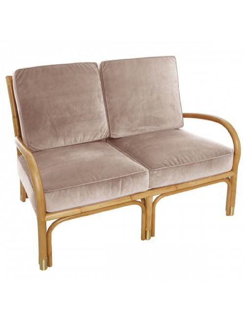 Canapé 2 pl Riviera velours beige rosé