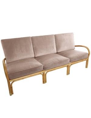 Canapé 3 pl Riviera velours beige rosé