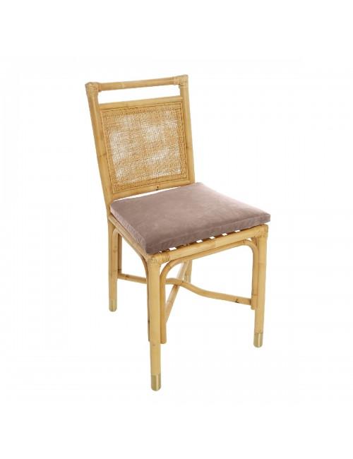 Riviera rattan dining chair beige rosé velvet