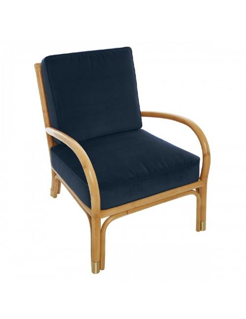 Riviera rattan armchair blue velvet