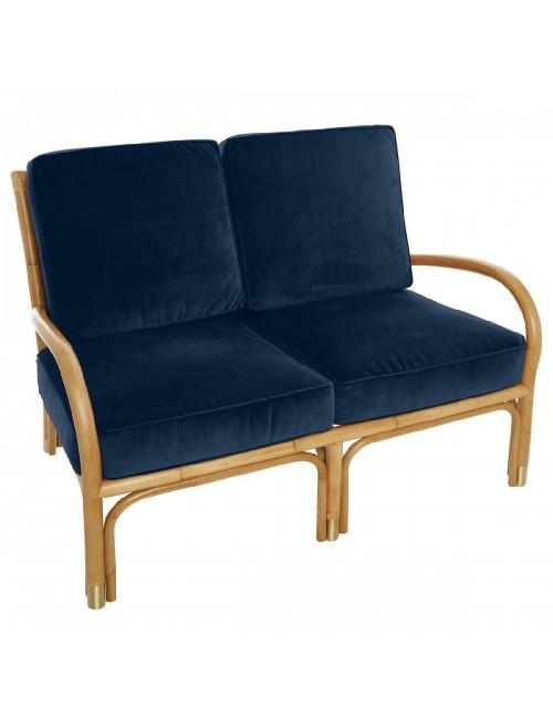 Canapé 2 pl Riviera velours bleu