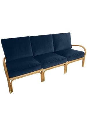 Canapé 3 pl Riviera rotin et velours bleu